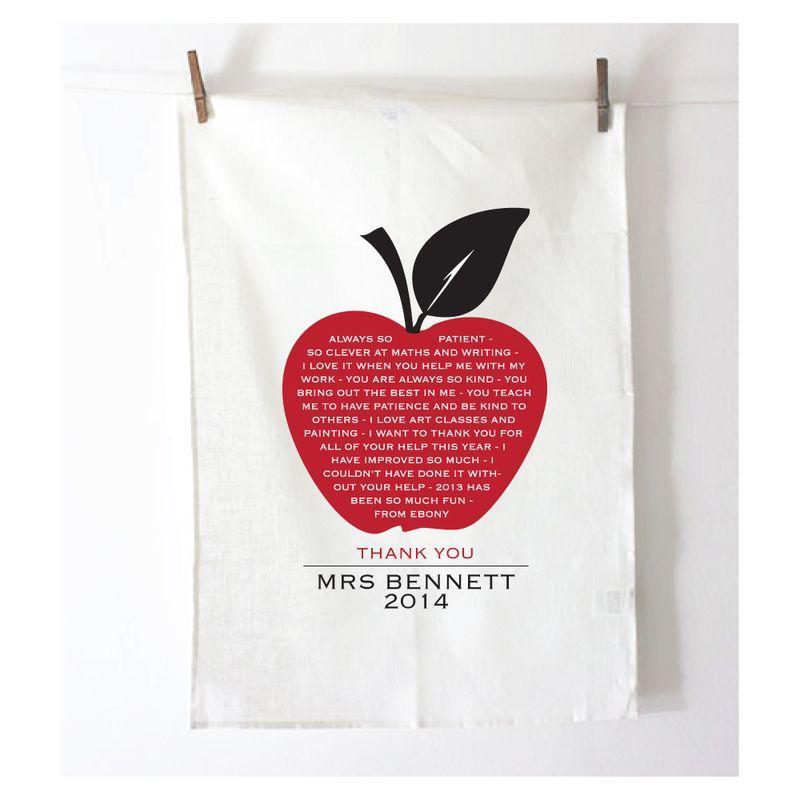 Personalised Teacher's Apple A Day Tea Towel