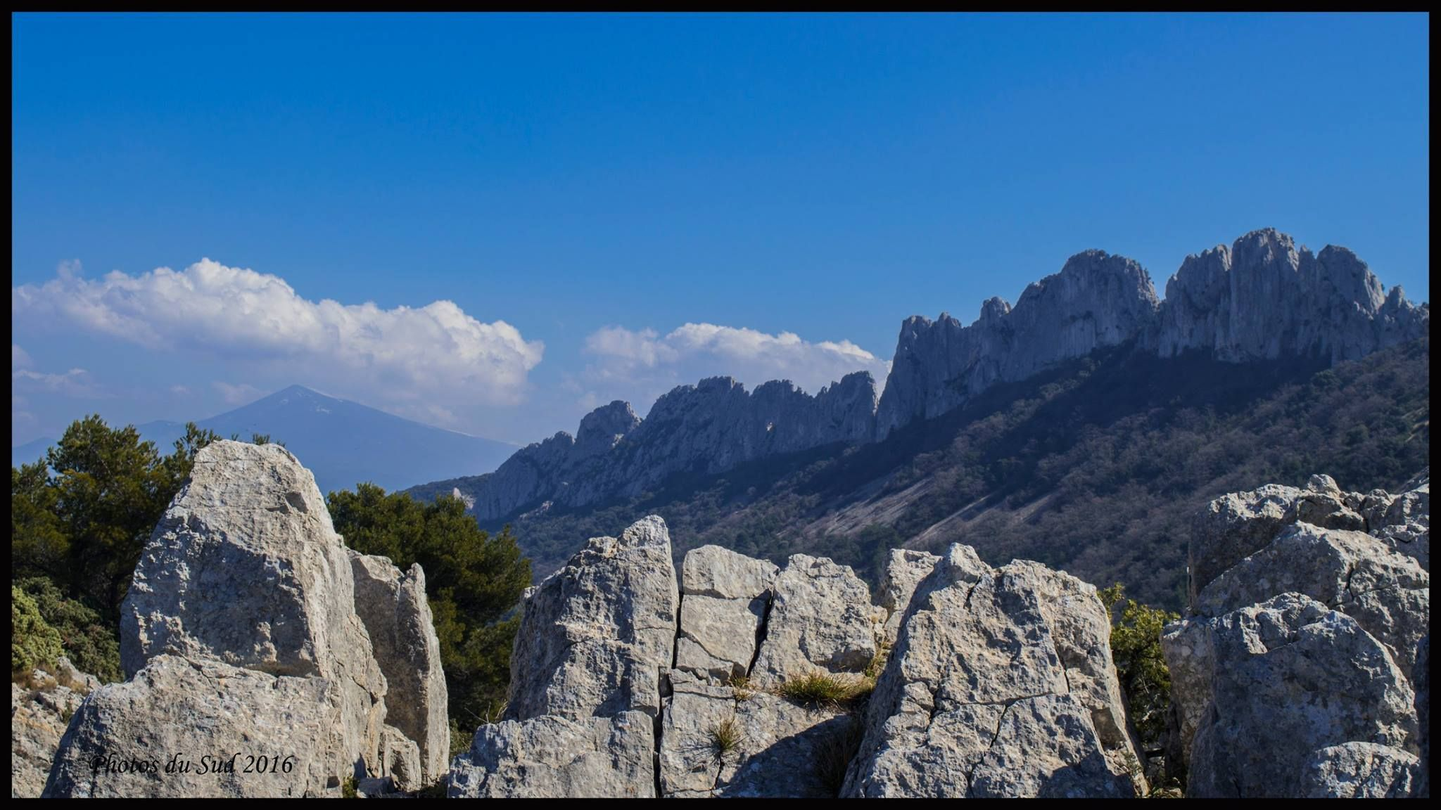 Les dentelles de Montmirail met de Ventoux op de achtergrond (© Photos du Sud)
