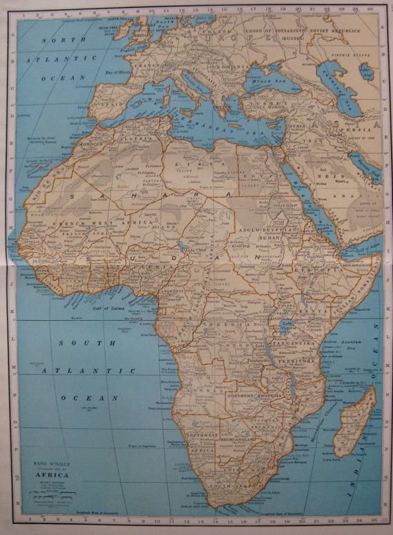 Antique Map of AFRICA Map Poster Print Size 1932 Vintage RARE SIZE