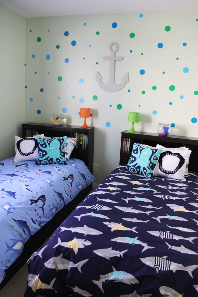 Delightful Boys Shark Theme Shared Bedroom