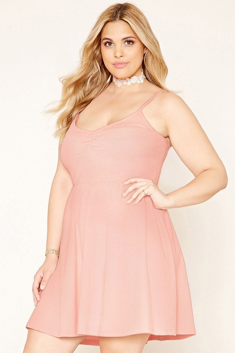 Forever 21+ - A knit skater dress with adjustable cami straps, a ...