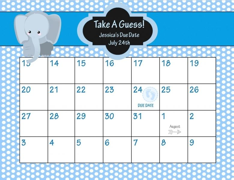 Baby Pool Calendar Due Date