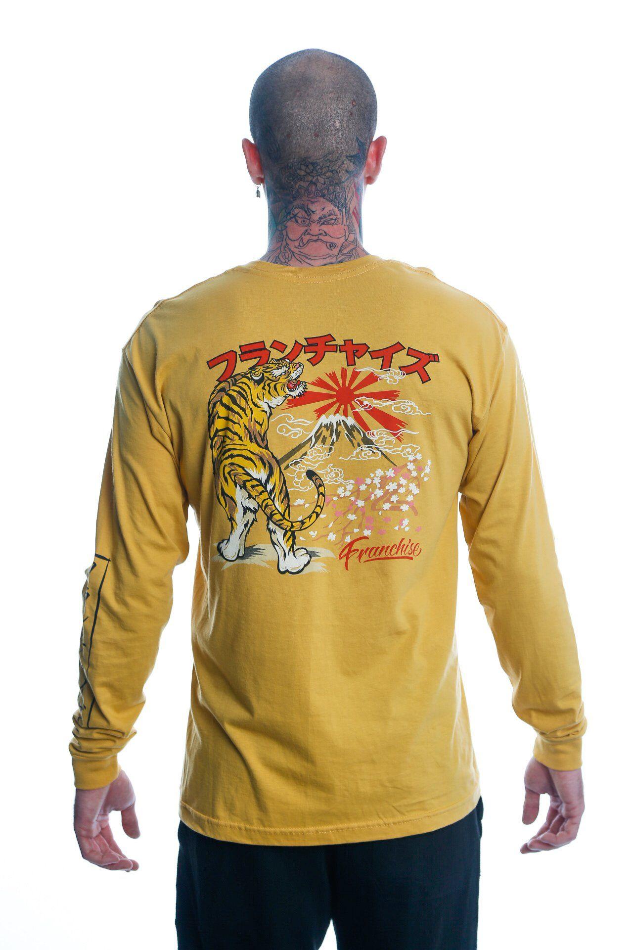 timeless design 06475 f157d Japanese Tiger X Kanji X Franchise Gold Long Sleeve