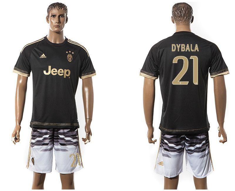 official photos 716aa 37fc8 2015-2016 Juventus club DYBALA #21 black white soccer jersey ...