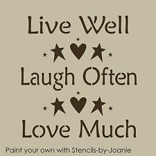 STENCIL Live Well Laugh Often Love Much Heart Stars Prim Country Beach Home Sign