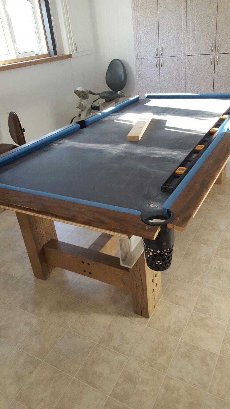 Homemade Oak Slate Pooltable Unfinished Diy Pool Table Pool Table Custom Pool Tables