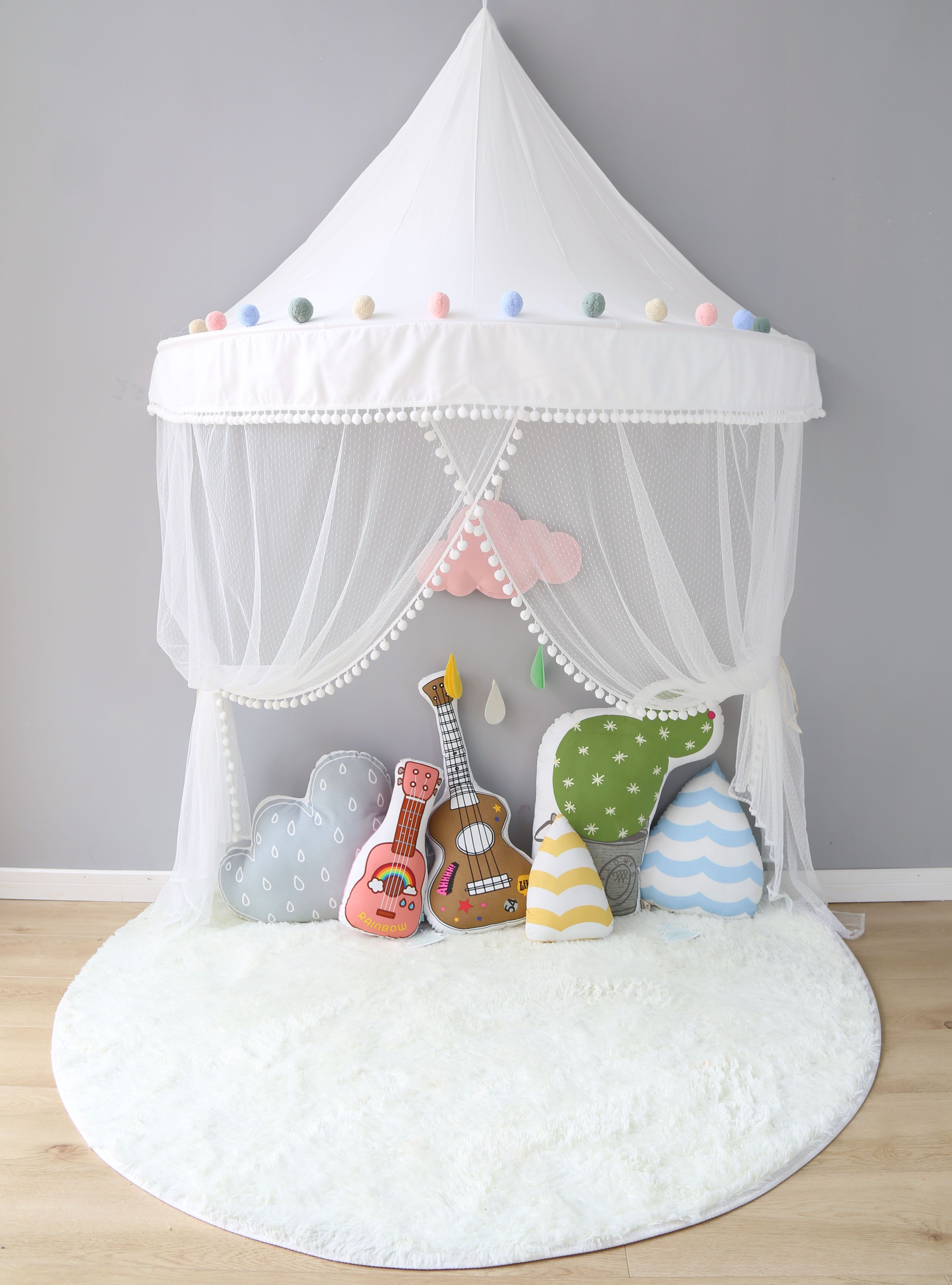 Nordic Children Tent Indoor Princess Game House Hanging Mosquito Nets Bed Curtain Bedside Book Corner Cotton Baby Bedding Sets Kids Teepee Tent Boys Room Decor