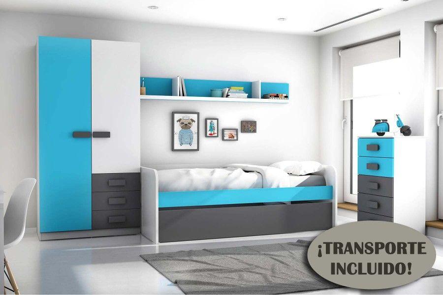 Dormitorio juvenil modelo gra color blanco azul y gris for Armario juvenil blanco