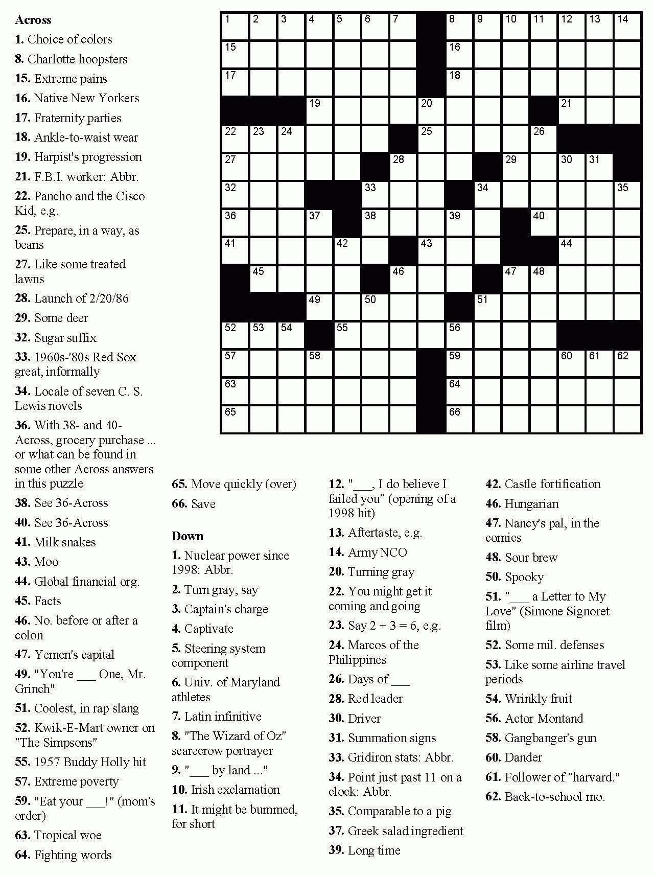 Printable Hard Crossword Puzzles In