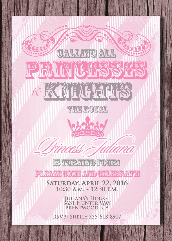 Princess and Knight Birthday Party Invitation - Prince and Princess ...