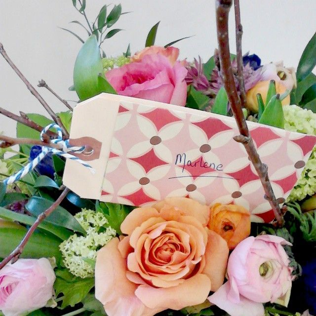"""""""Because the standard florist enclosure cards bring me no joy, I've started making my own out of kraft parcel tags and decorative origami papers. Tied on…"""""""