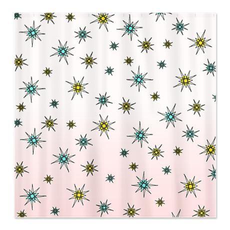 1950s Starburst Shower Curtain By Teeblrrich Retro Shower