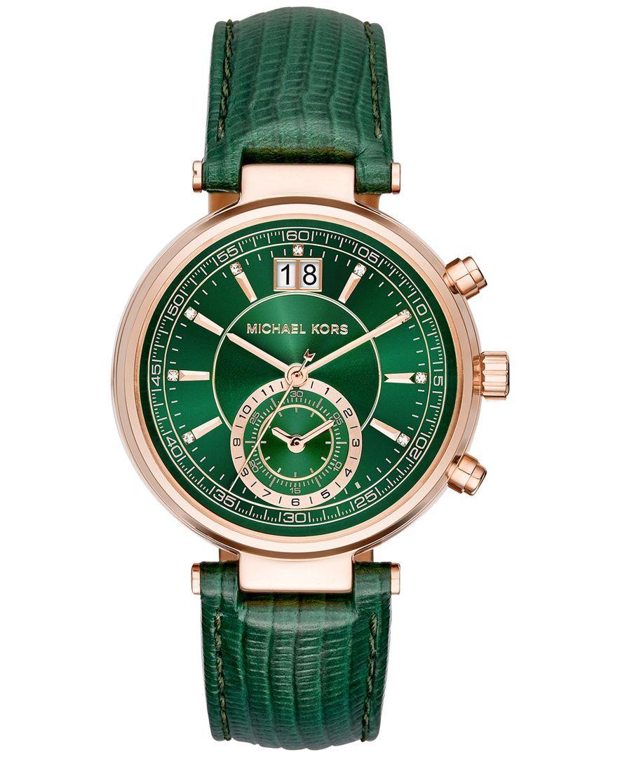 8825fa7ab Michael Kors Women's Chronograph Sawyer Green Leather Strap Watch 39mm  MK2581