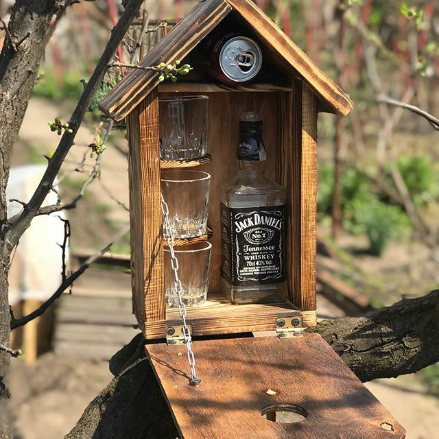 Photo of Wood nesting box bird house mini bar garden handmade new man cave gift whiskey best men gift