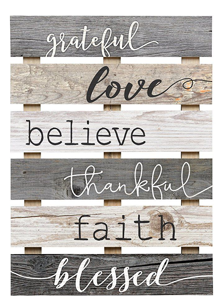 Wall Signs Decor Simple Grateful Love Believe Thankful Faith Blessed Grey Rustic Wall Review