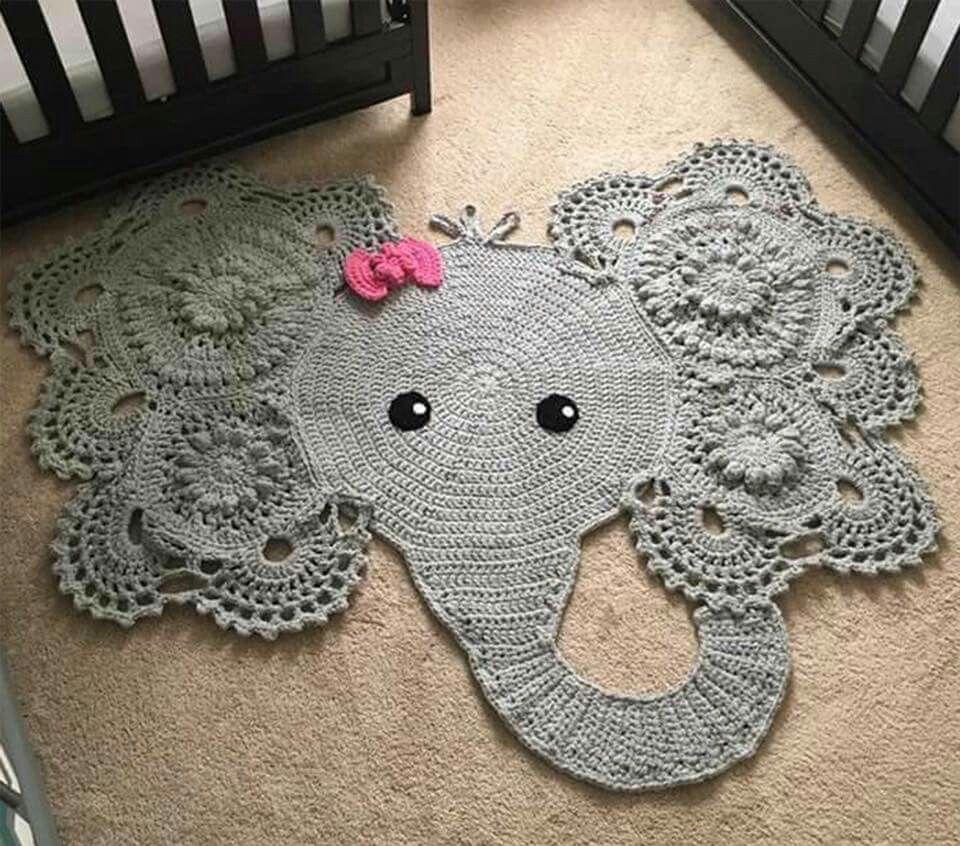 Crochet Elephant Animal Rug Baby Rugs