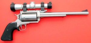"""The MRI BFR Hand Cannon : Since its inception, many well-known revolver manufactures have taken to producing ultra large handgun cartridges for their own BFR's. These include Smith and Wesson's .500 and Ruger's .480, both of which debuted in 2003. The company bills it as """"the most powerful production single action gun made."""" Initially just offered in .45-70  The MSRP typically run about $900 while used versions are closer to $750."""