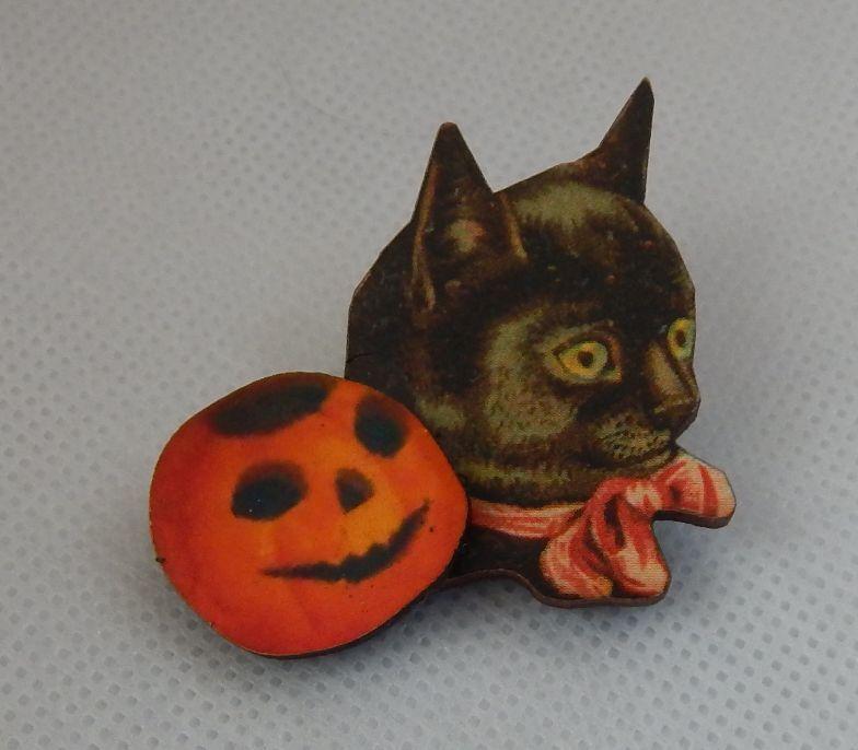 Black Cat & Pumpkin Halloween Brooch or Scarf Pin Wood Accessories Fashion NEW  #handmade