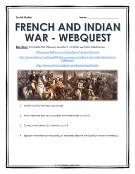 French And Indian War Webquest With Key Webquest History Teaching Resources Social Studies Resources