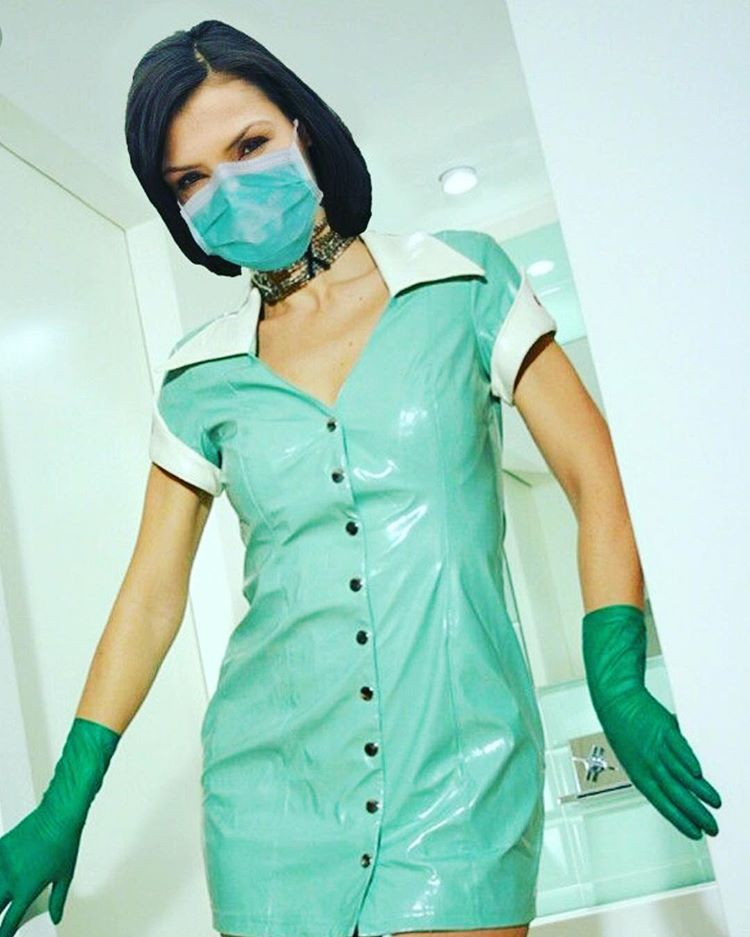 CL Design ladies latex nurse mask for men and women with zipper Fetish Rubber Halfmask