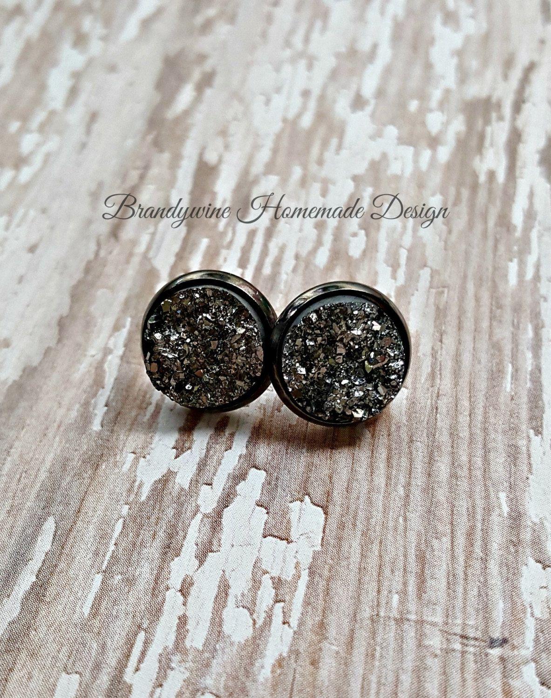 Druzy Earrings, 12 mm Druzy, Druzy Studs, Gunmetal Earrings, Natural Color Druzy Earrings, Affordable Jewelry, Earth Jewelry by BrandywineHD on Etsy