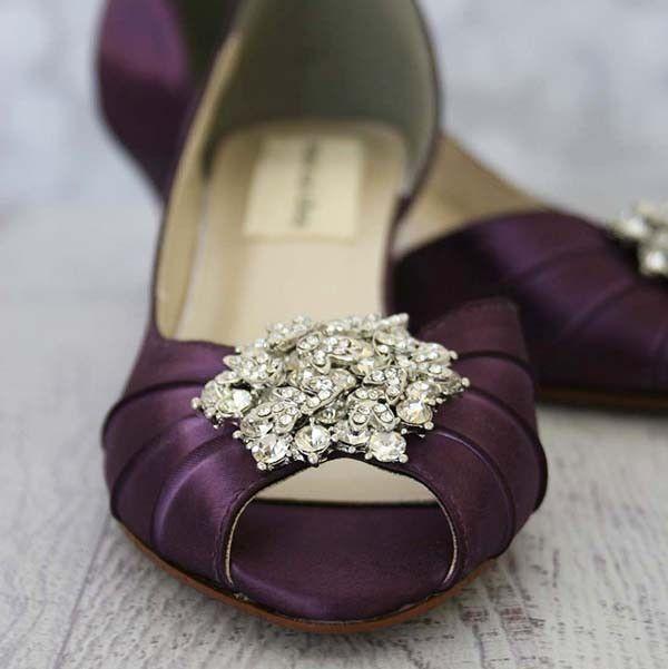 Plum Kitten Heel Peep Toe Wedding Shoes With Classic Cluster Custom Wedding Shoes Purple Wedding Shoes Peep Toe Wedding Shoes