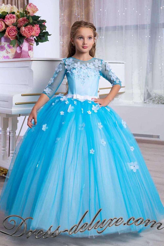 e36ec2f98587933 Платье Виола. Цвет белый/голубой - Детские нарядные платья ...