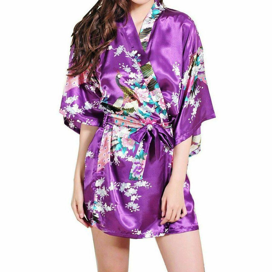 Women Wedding Bride Bridesmaid Satin Silk Robe Night Bathrobe Kimono Sleepwear