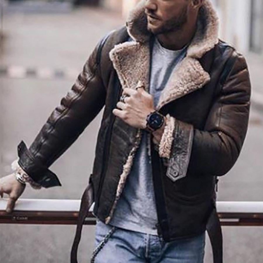 Men S Fashion Lapel Long Sleeved Jacket Ootdmw Com In 2021 Leather Jacket Men Streetwear Jackets Leather Jacket [ 900 x 900 Pixel ]