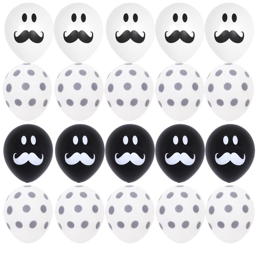 Details about 20X Black & White Gray Polka Dots Balloons Smile ...