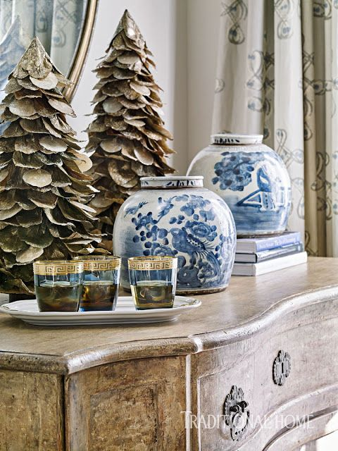A  beautiful Christmas vignette from an elegant home in Tennessee decorated with blue and grey