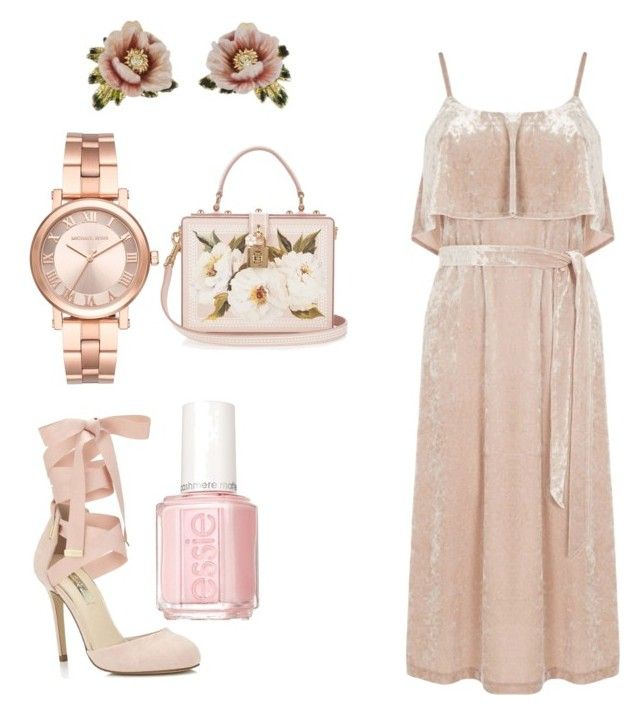 """""""peach pink"""" by idkwigd ❤ liked on Polyvore featuring Warehouse, Dolce&Gabbana, Miss Selfridge, Michael Kors, Les Néréides and Essie"""