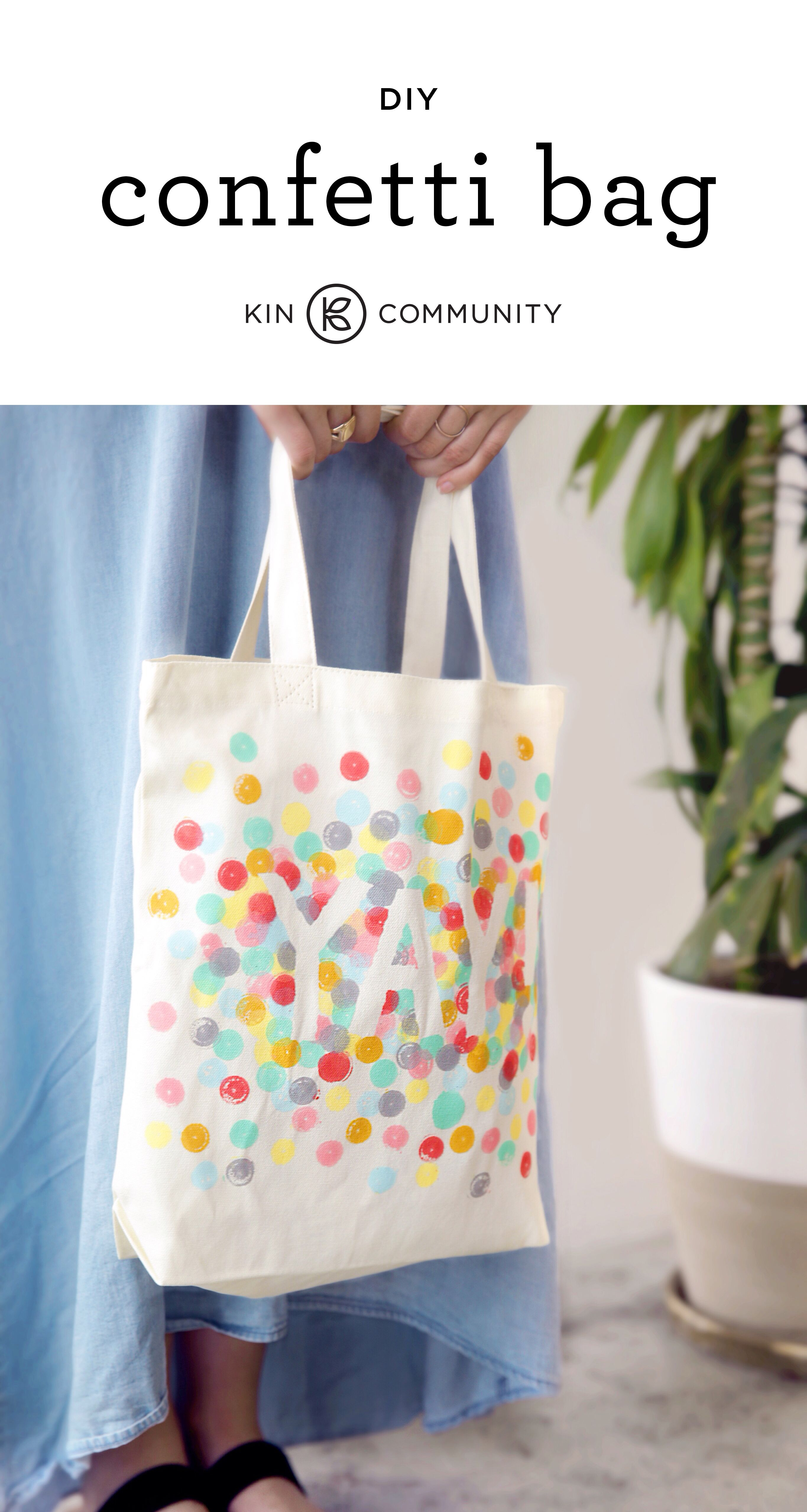 DIY Confetti Tote Bag by @amytangerine // Click for video tutorial ...