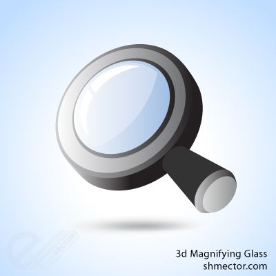 3D Magnifying Glass Clipart Vector Free Download Vector