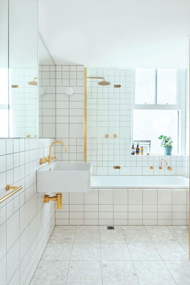 White Subway Tiles Gold Hardware Favorite Minimalist Bathroom Design Bathroom Design Minimalist Bathroom