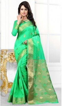 81a8f2c057 Banarasi Silk Fabric Mint Green Color Casual Wear Sarees with Blouse |  FH456671446 #party , #wear, #saree, #saris, #indian, #festive, #fashion,  #online, ...