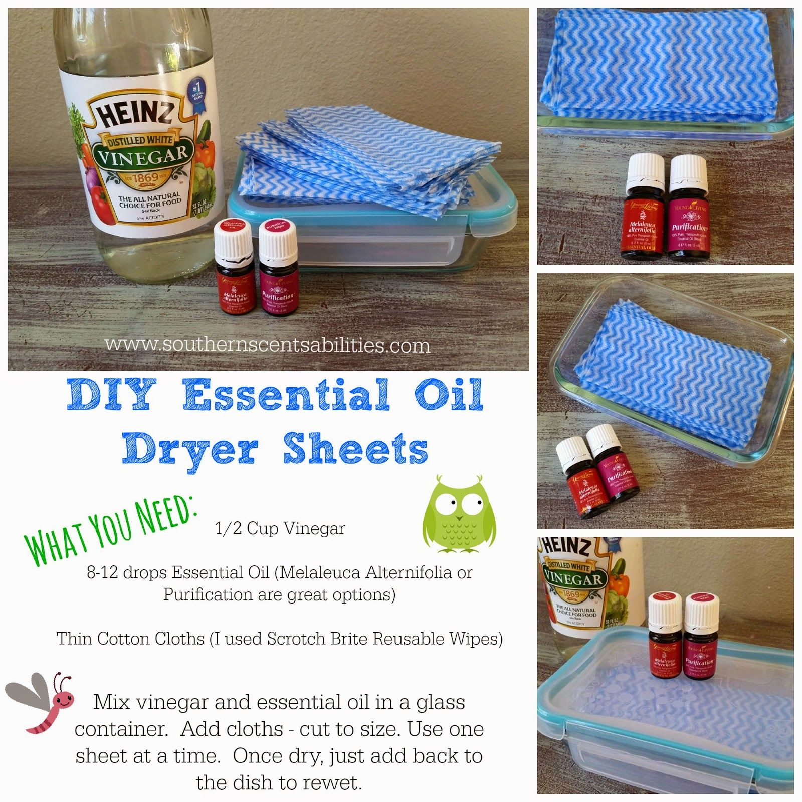 Ditch those toxic dryer sheets laden with synthetic fragrances and make your own essential oil infused dryer sheets!  I LOVE THESE!