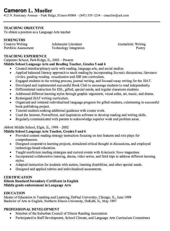 Example Of Arts Teacher Resume Examples Resume Cv Teacher Resume Examples Teacher Resume Middle School Language Arts Teacher