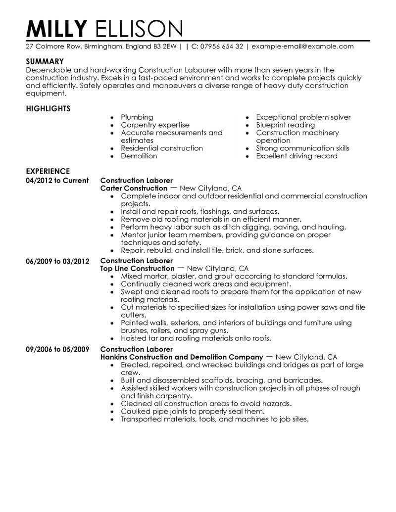 Laborer Resume Construction Worker Resume Template  Httpjobresumesample