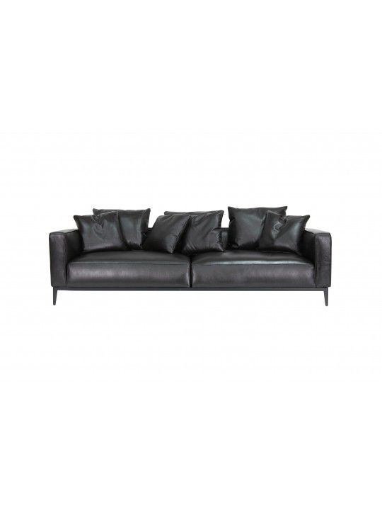 Excellent California Medium Sofa In Leather Top Grain With Black Machost Co Dining Chair Design Ideas Machostcouk