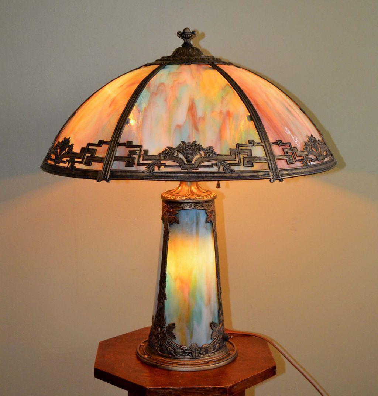 Slag Glass Lamp With Lighted Base Slag Glass Table Lamps Glass