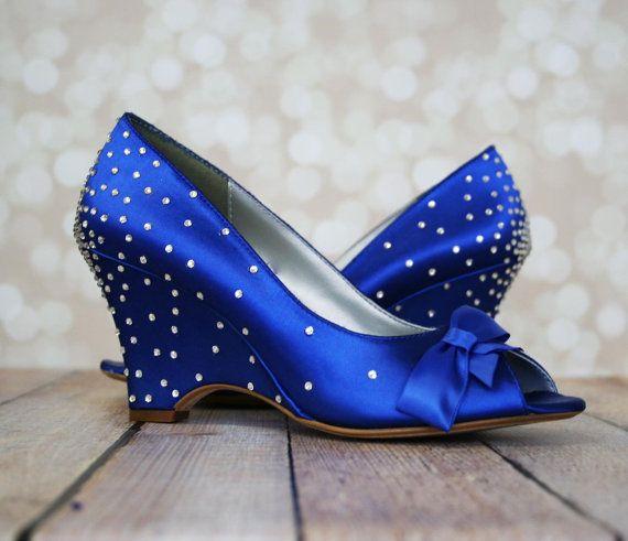 Wedding Shoes Royal Blue Wedge Wedding
