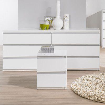Tucson Bedroom 6 Drawer Double Dresser Finish: White - http://delanico.com/dressers/tucson-bedroom-6-drawer-double-dresser-finish-white-531285643/