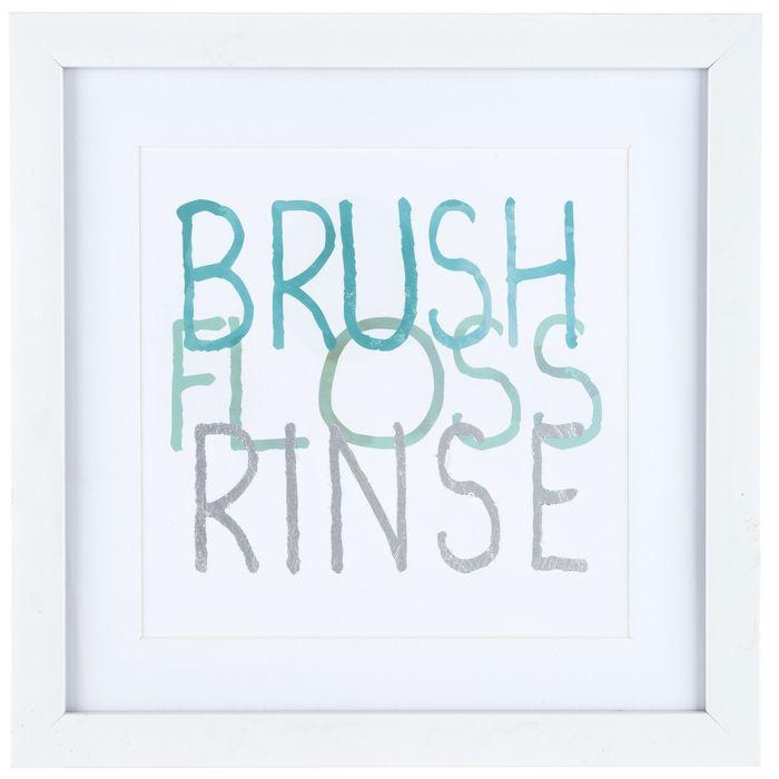 . Brush Floss Rinse Framed Wall Decor   Home in 2019   Frame wall