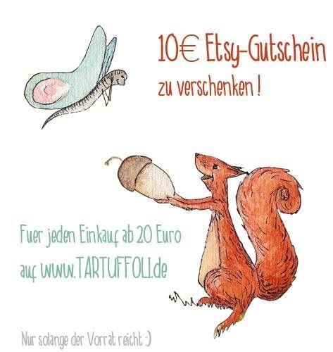 Wir verschenken Etsy-Gutscheine!  Kaufe bei uns auf www.tartuffoli.de für mindestens 20 € ein und Ihr bekommt den Gutschein dazu.  Der Vorrat ist begrenzt, also haltet Euch ran:) #Gewinnspiel #Gutscheine #Etsy