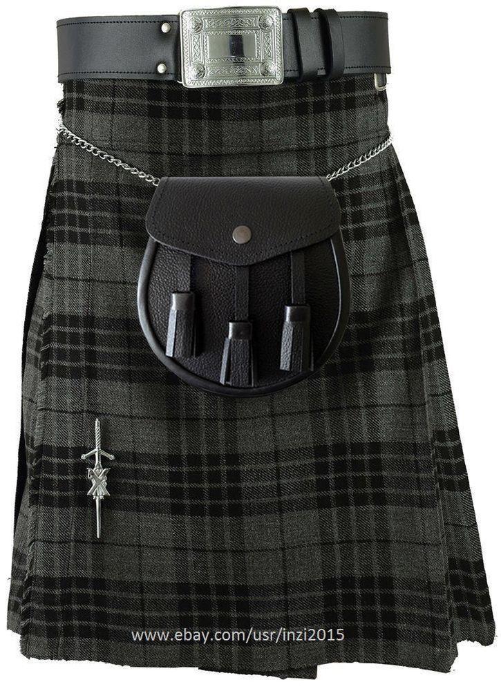 Men Traditional 8 Yard 13 oz Royal Stewart Scottish Tartan Kilt Handmade Custom
