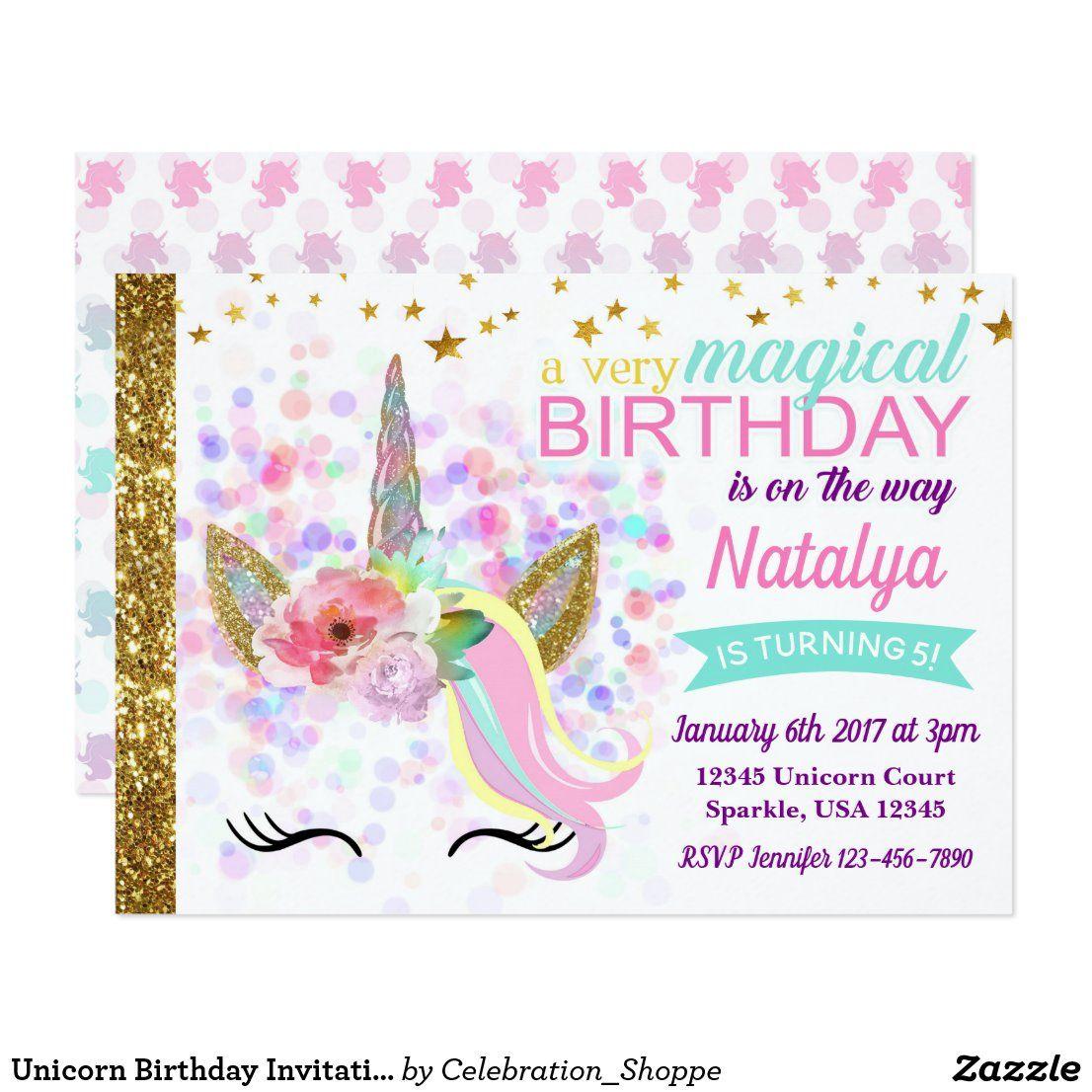 Unicorn Birthday Invitation Magical in 2020