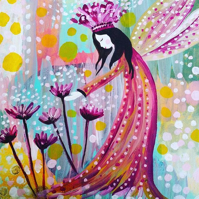 Queen of the Flowers #shaeleviston www.thebutterflycollector.com.au  #thebutterflycollector #painting #acrylic #fairy #fairies #faerie #pink #queen #crown #petals #flowers #garden #spring