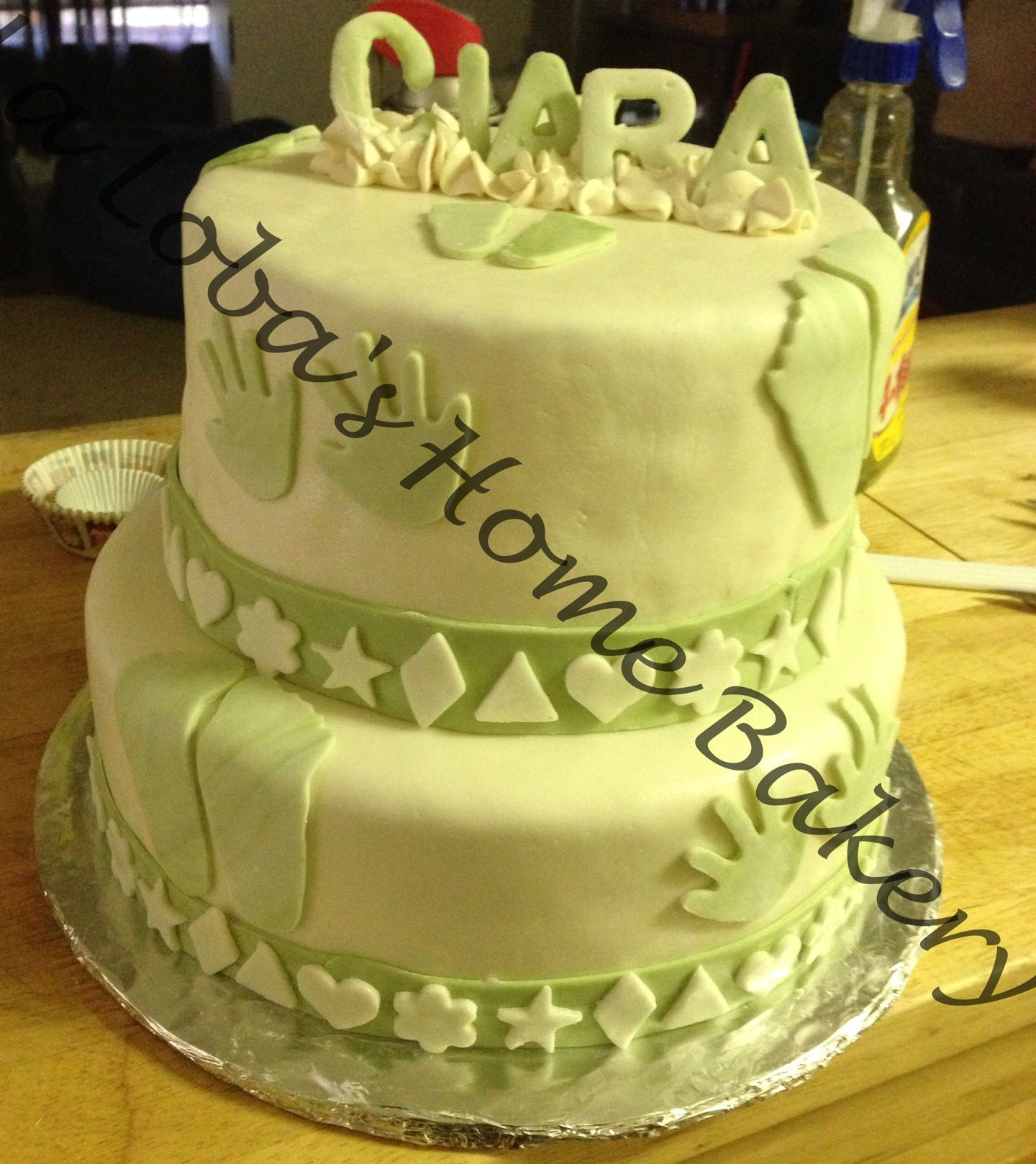 Vanilla cinnamon cake with caramel buttercream filling. Cake is covered in fondant.