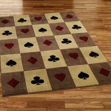 Playing Card Suits Area Rug Basement Game Room Ideas